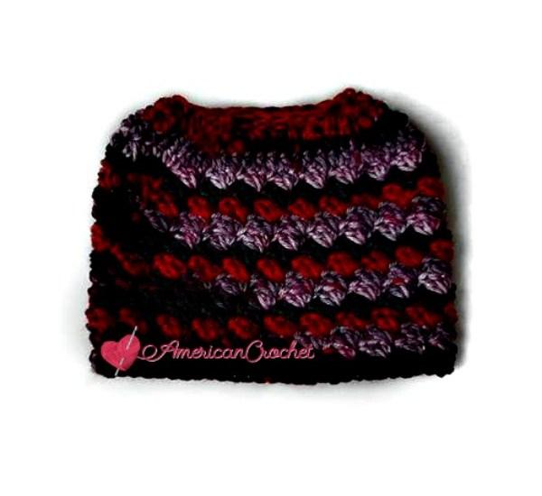Everyday Kisses Messy Bun Hat free crochet patterns