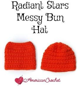 Radiant Stars Messy Bun Hat ~ Free Crochet Pattern