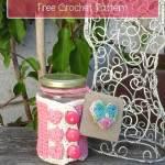 Hearts Jar Cozy free crochet pattern