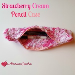 STRAWBERRY CREAM PENCIL CASE ~ FREE CROCHET PATTERN
