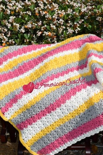 Tickled Blossom Baby Blanket free crochet pattern