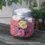 Autumn Rose Jar Cozy free crochet pattern