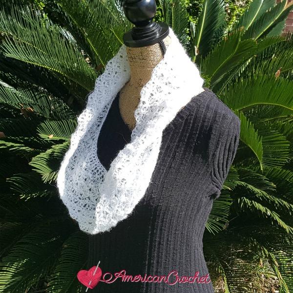 Shimmery Cloud Cowl | Free Crochet Pattern | American Crochet @americancrochet.com #freecrochetpattern