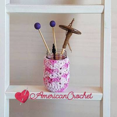 Strawberry Truffle Jar Cozy ~ Free Crochet Pattern