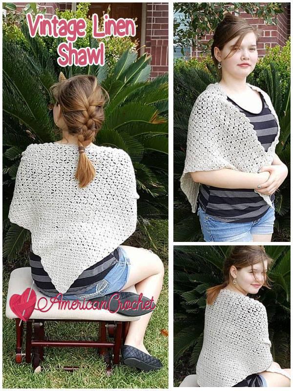 Vintage Linen Shawl | Free Crochet Pattern | American Crochet @americancrochetcom #freecrochetpattern