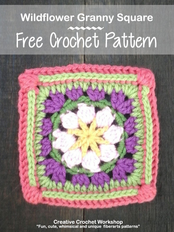 Wildflower Granny Square - Free Crochet Pattern | Creative Crochet Workshop @creativecrochetworkshop |American Crochet @americancrochet #grannysquare #freecrochetpattern #groovygrannysquarecal