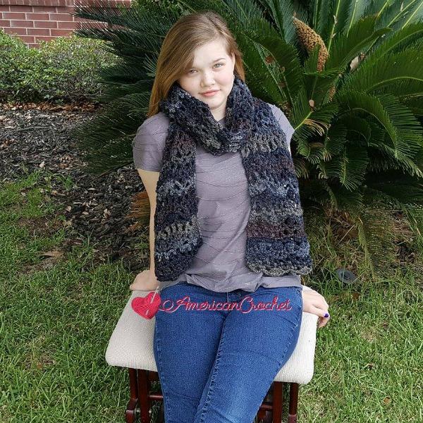 Night Skies Scarf | Free Crochet Pattern | American Crochet @americancrochet.com #NightSkiesScarf