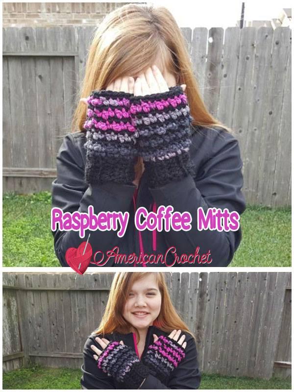 Raspberry Coffee Mitts | Free Crochet Pattern | American Crochet @americancrochet.com #freecrochetpattern