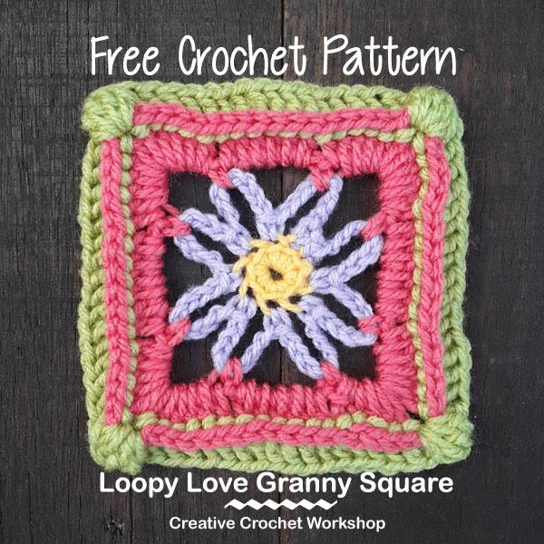 Loopy Love GrannySquare - Free Crochet Pattern | Creative Crochet Workshop @creativecrochetworkshop | American Crochet @americancrochet #grannysquare #freecrochetpattern #groovygrannysquarecal