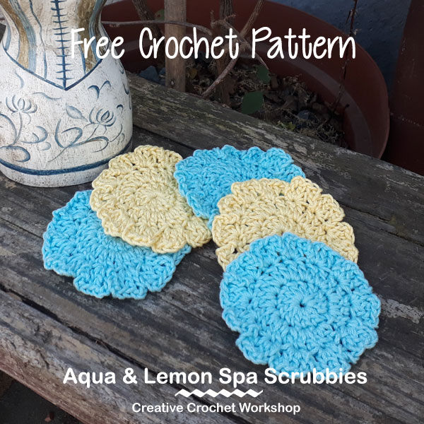 Aqua & Lemon Spa Scrubbies - Free Crochet Pattern | American Crochet @creativecrochetworkshop #crochet #freecrochetpattern #spacrochetgiftalong