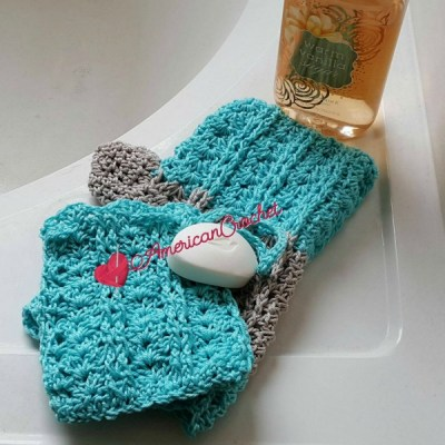 Vintage Lace Shells Soap Cozy and Bath Mitt