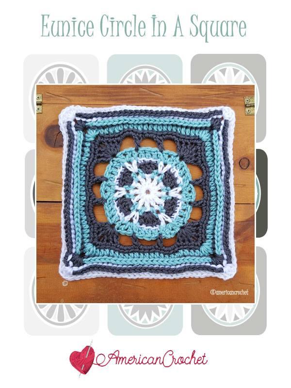 Eunice Circle in A Square | Free Crochet Pattern | American Crochet @americancrochet.com #freecrochetpattern #freecrochetalong