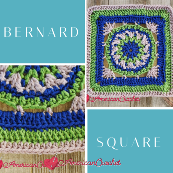Bernard Square   American Crochet @americancrochet.com #crochetalong