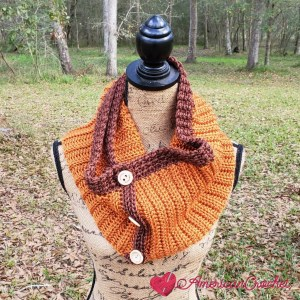 Sable Button Scarf | American Crochet @americancrochet.com #crochetpattern