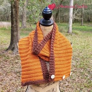 Sable Button Scarf   American Crochet @americancrochet.com #crochetpattern