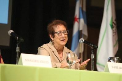 Economics Professor June Lapidus speaks at the panel on the 2016 presidential election.
