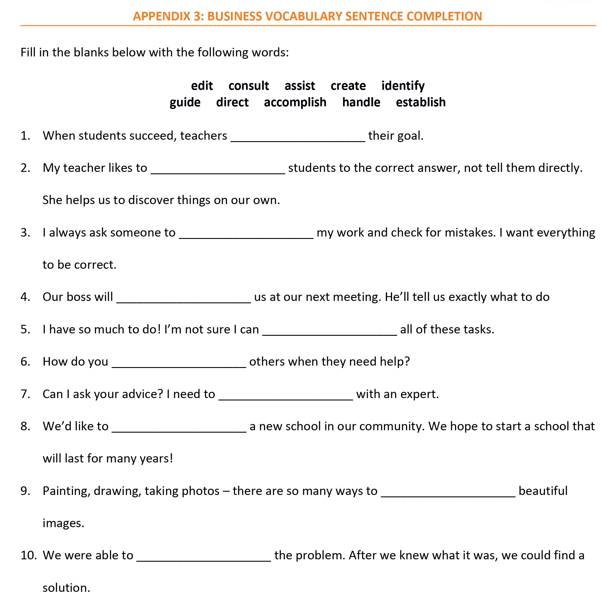Teacher S Corner Career Vocabulary