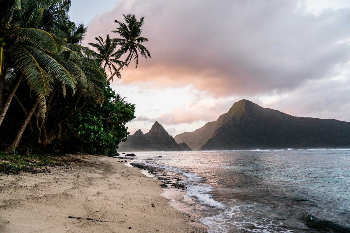view of the beach on the island of ofu in the national park of american samoa