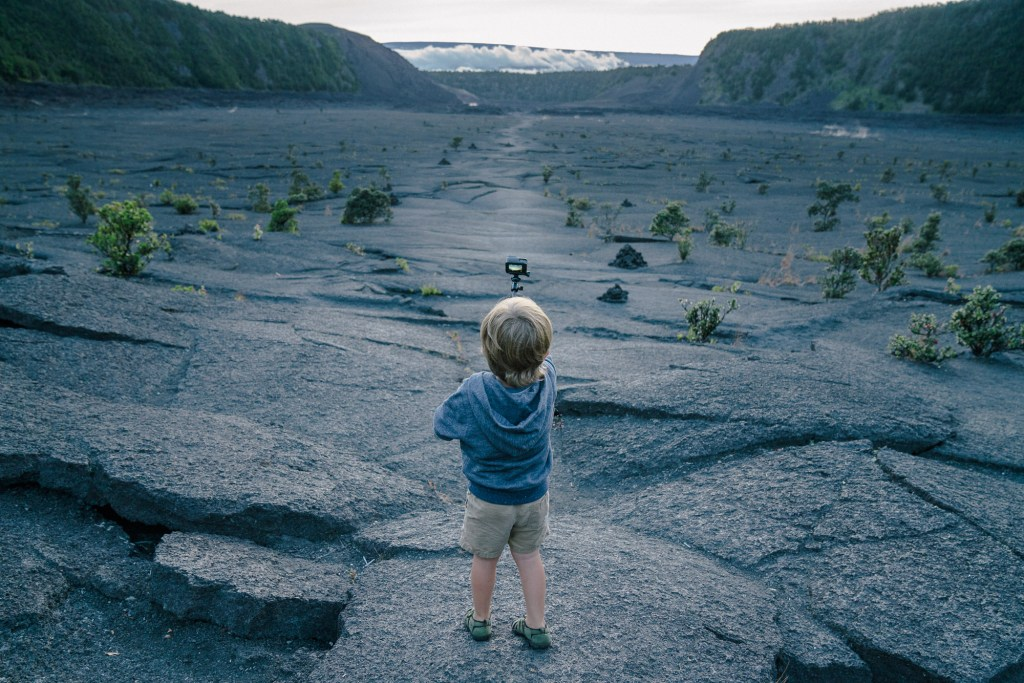 a child visiting hawaii volcanoes national park