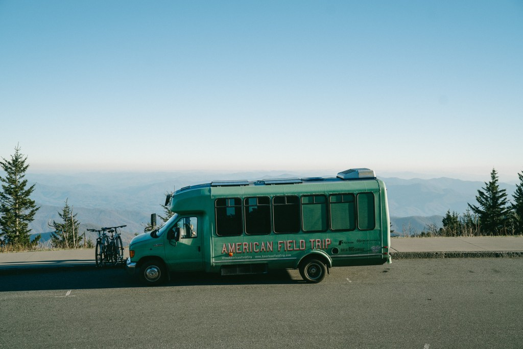 converted shuttle bus in national park