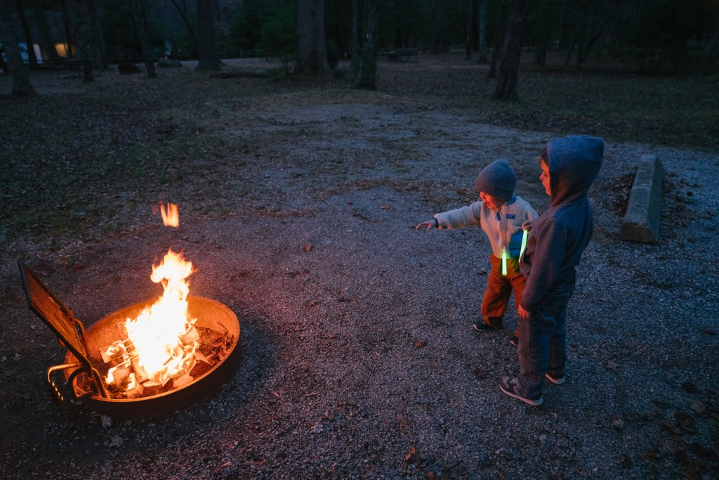 kids with campfire in cades cove