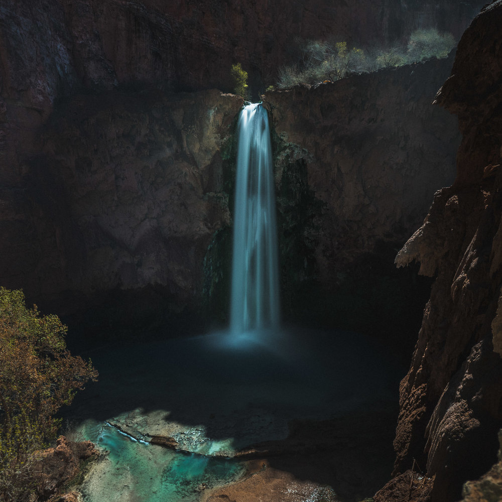 Mooney Falls by moonlight.
