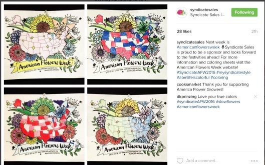 Love this gallery of our American Flowers Week FLORAL MAP posted by our friends at Syndicate Sales