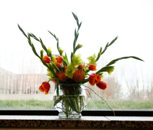 Art in Bloom at St. Louis Art Museum, with American-grown flowers and local curly willow -- all in a Syndicate Sales USA-made vase.
