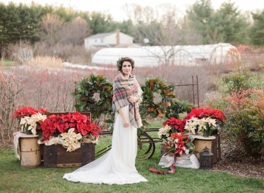 Floral crown, bouquet, centerpieces and other decor are made from Plant Masters' greenhouse and field products, including poinsettias and succulents.
