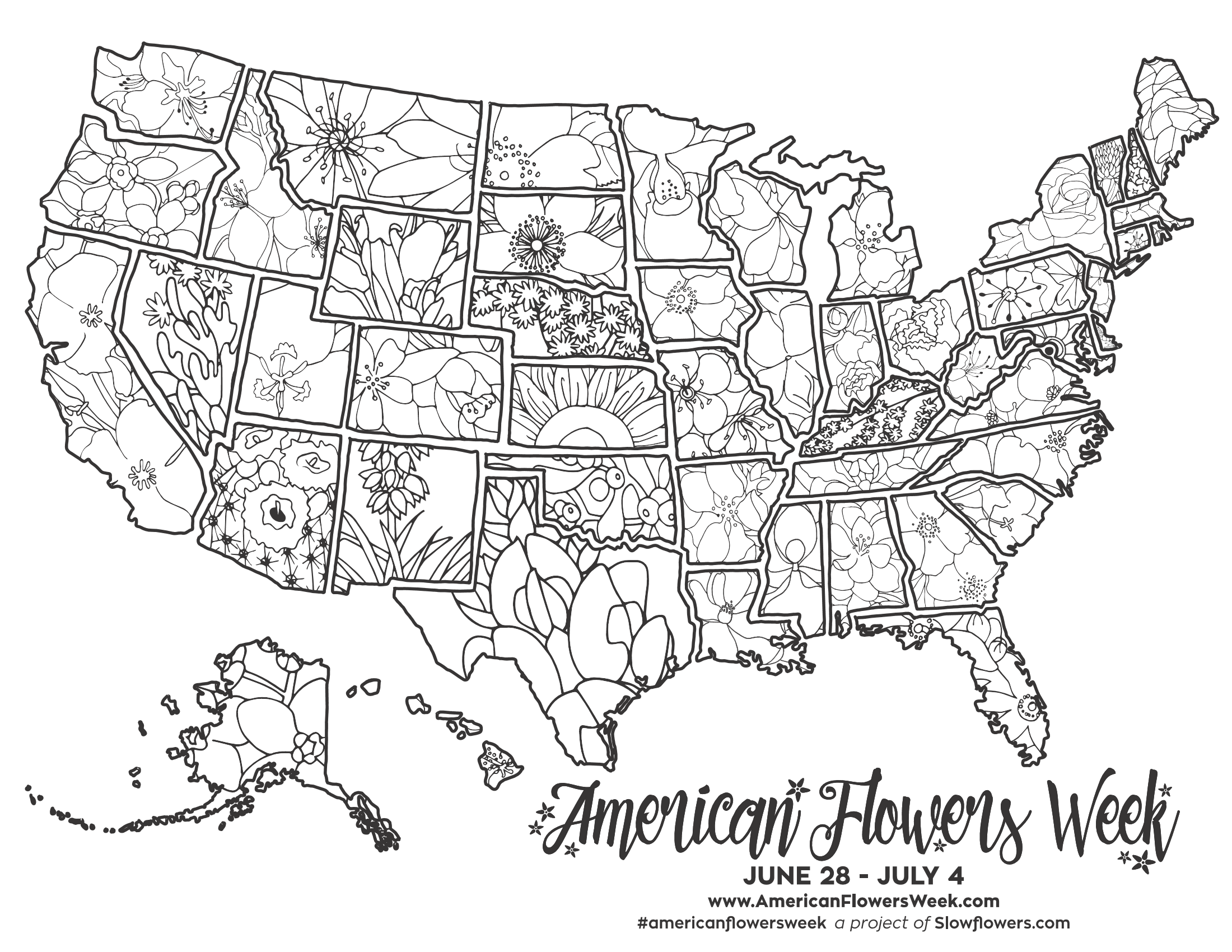 - 50 State Flowers — Free Coloring Pages American Flowers Week