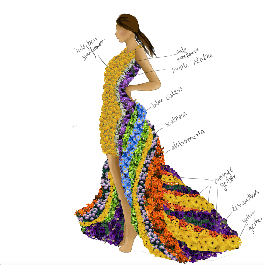 LA Inspired Sketch for Botanical Couture