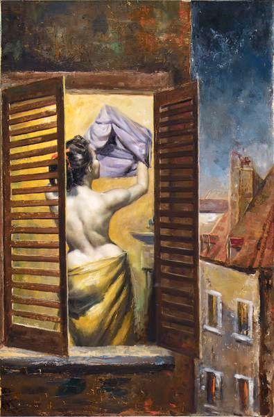 Woman Dressing, Seen Through Garret Blinds