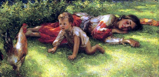 A Sleeping Gypsy Girl With A Cockerel And Baby