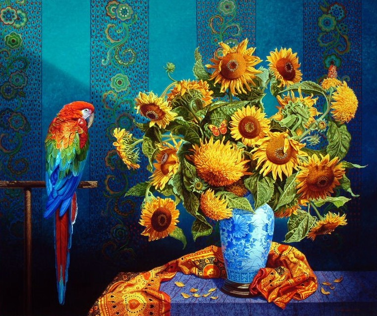 Sunflowers With Macaw