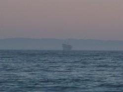 Oil rig platforms off the coast