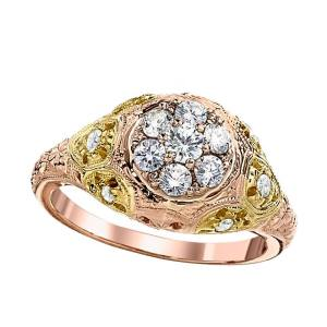 Rose gold ring with green gold and diamonds from Jabel Jewelry