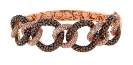 Brown and white diamond bangle, by Dilamani.