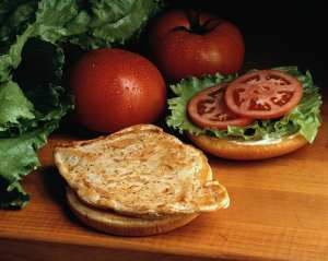Plain chicken on a bun with tomato and lettuce