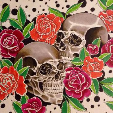 Adam Rose skull & roses