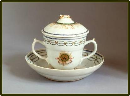 Chocolate cups, like this one owned by George and Martha Washington, were typical of the colonial era. Most chocolate cups had two handles, on opposing sides, while tea cups of the period had no handles at all. Image credit: George Washington's Mount Vernon Estate, Museum, and Gardens' 2012 annual Colonial Chocolate Society meeting presentation.