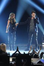 Angie performs with Adam Lambert