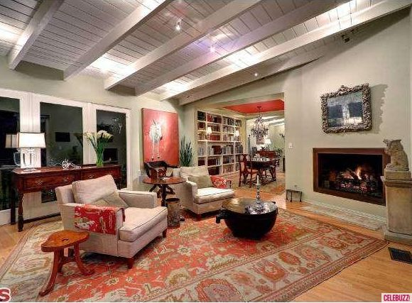 Hollywood Hills home living room night