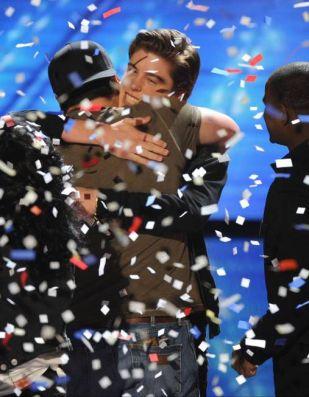 Sam and Dexter hug