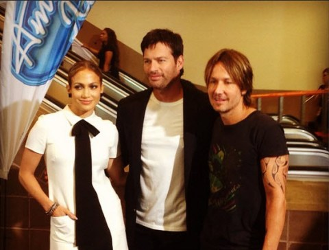 American Idol judges Jennifer Lopez, Harry Connick Jr., and Keith Urban