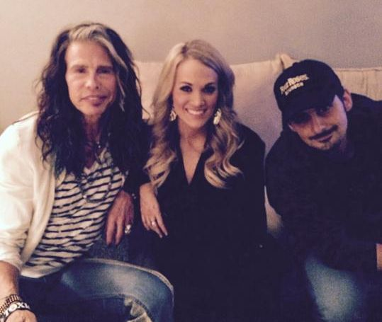 Steven Tyler, Carrie Underwood, & Brad Paisley at CMA event