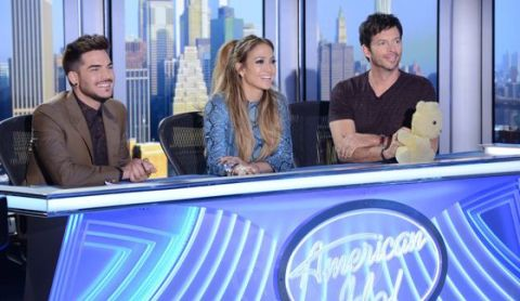 American Idol Judges with guest Adam Lambert