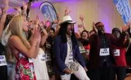 Qaasim celebrates at the Idol auditions