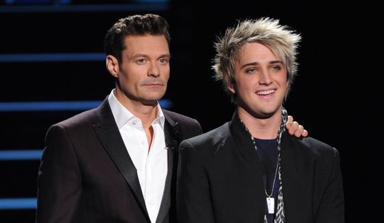 Idol host Ryan Seacrest with finalist Dalton Rapattoni