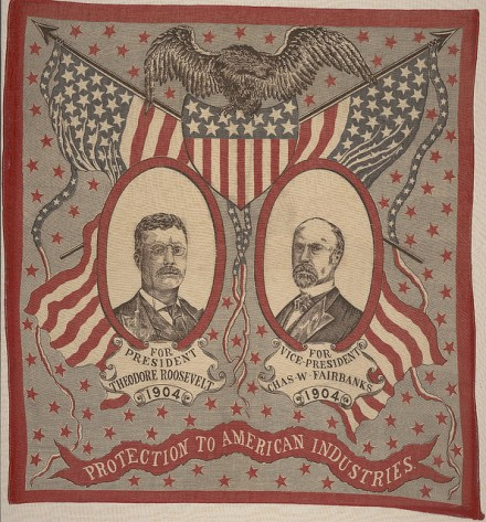 Pro-protection handkerchief from Theodore Roosevelt's 1904 campaign (Courtesy Cornell University Library via Flickr Commons)