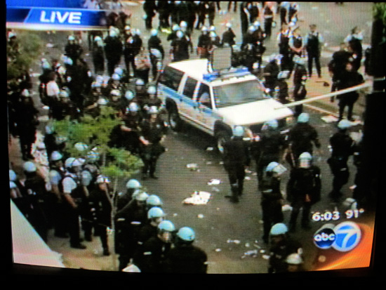 Freeze frame of channel 7 coverage of police standoff with protesters at Michigan and Cermak, May 20th (author photo)